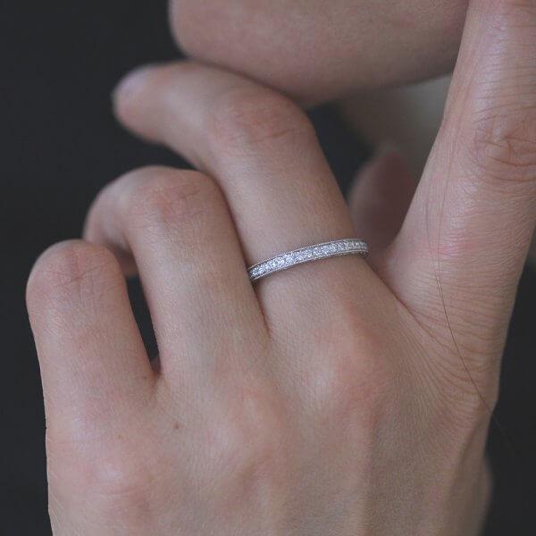 Every day wear vintage diamond bead band