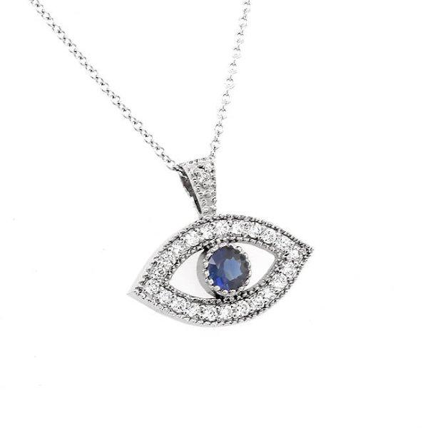 Evil Eye Diamond and Sapphire Necklace OroSpot