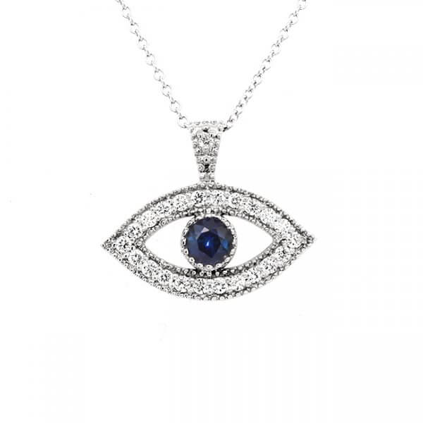 Evil Eye Talisman with diamonds and sapphire by OroSpot