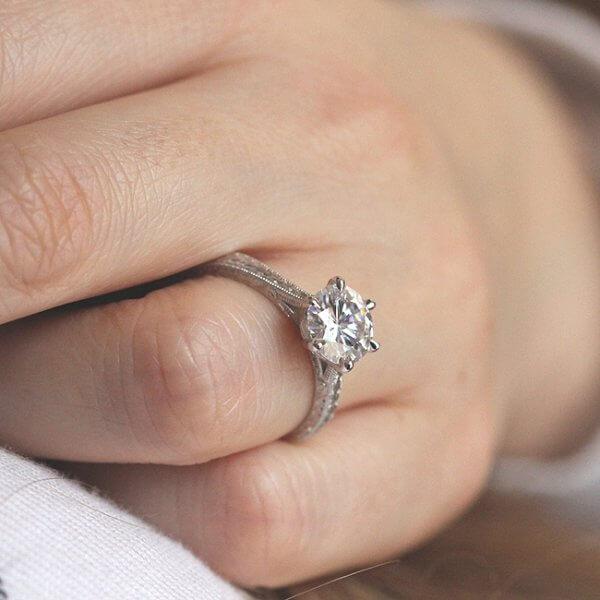 filigree gold mMoissanite engagement ring