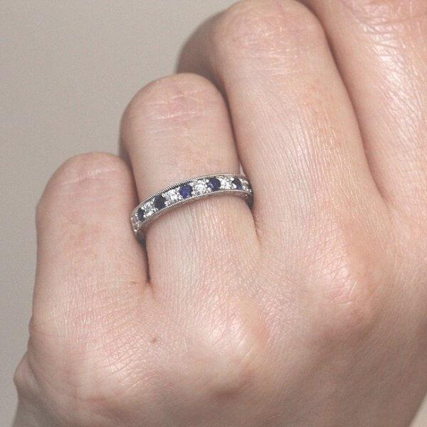 Filigree Gold diamonds with sapphires wedding ring OroSpot