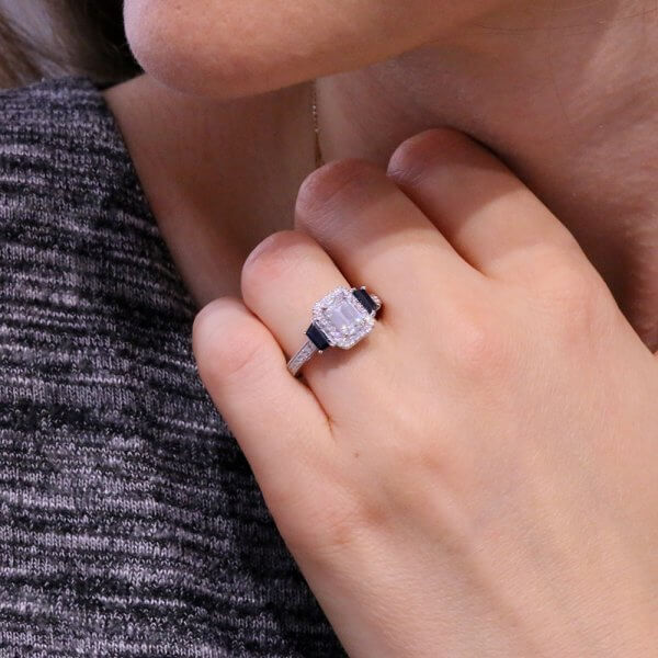 Filigree Hand Carved Emerald Cut moissanite and Sapphire Ring