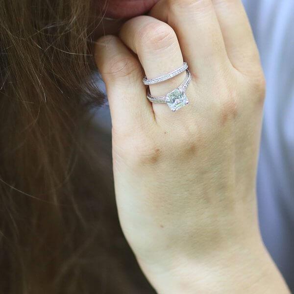 Filigree Milgrained Asscher Moissanite Ring