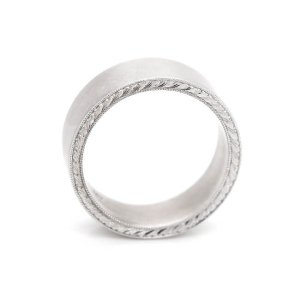 Flat hand engraved matte finish men's wedding band OroSpot