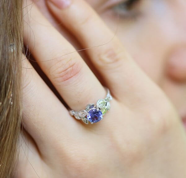 Floral leaf engagement ring with Tanzanite in modern design