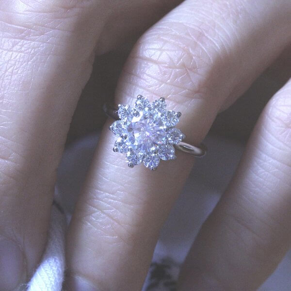 Forever One MOissanite diamond halo promise ring