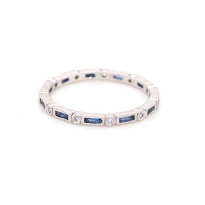 French cut sapphires and diamonds eternity band