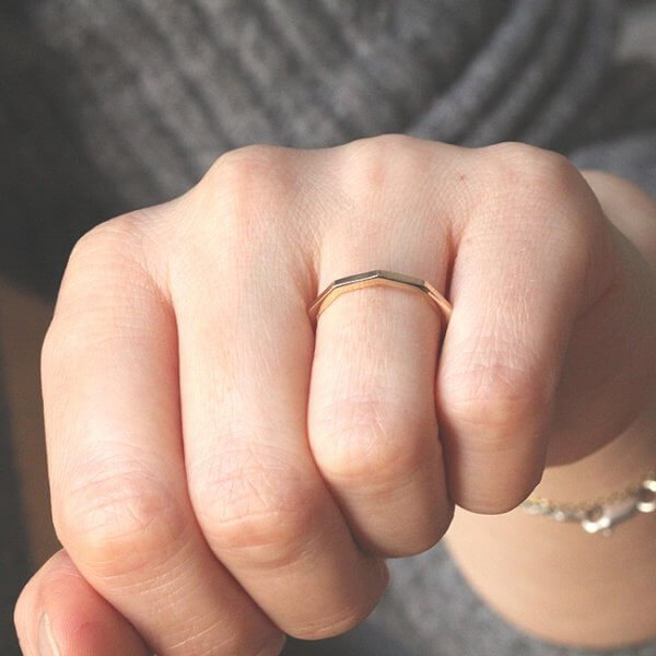 Geometric 10 sided delicate stack band OroSpot