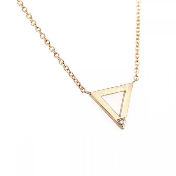 Geometric triangle diamond pendant in solid gold