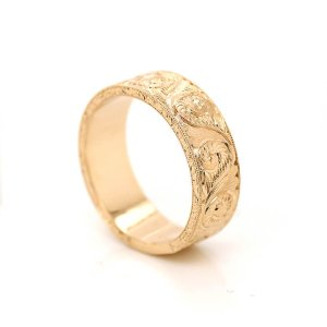 Gold Antique Carved Men's Wedding Ring OroSpot