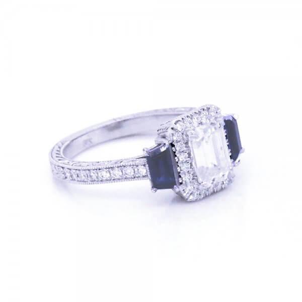 Halo Emerald Moissanite Sapphire Diamond Ring