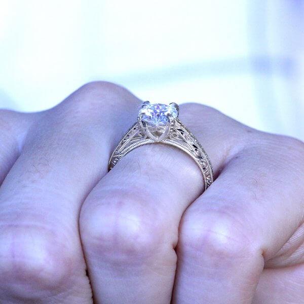 Hand Carved Vintage Engagement Ring OroSpot
