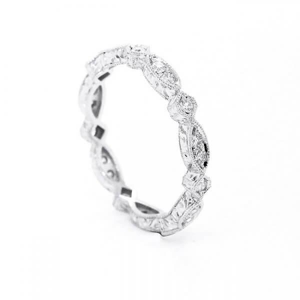 Hand Engraved Diamond wedding band OroSpot