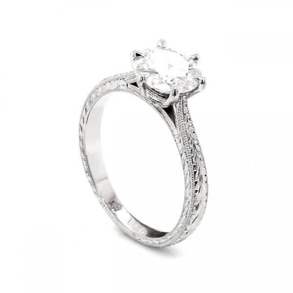 hand engraved moissanite engagement ring