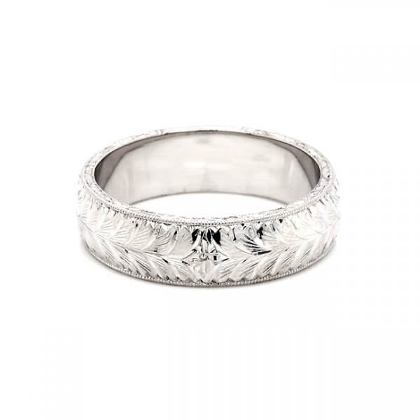 hand engraved men's wedding band solid gold