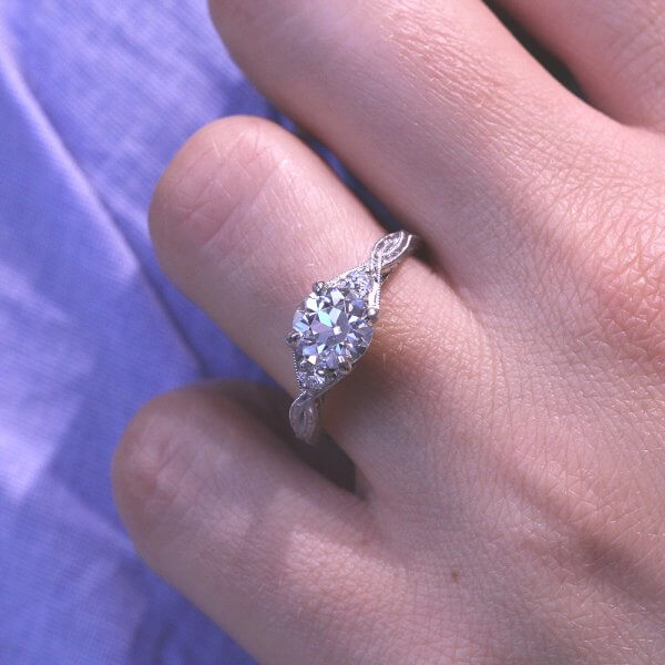 Hand Engraved Old European Cut Moissanite Engagement Ring