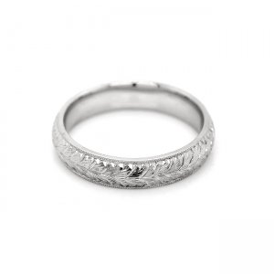 Hand Engraved Rounded Wedding Ring