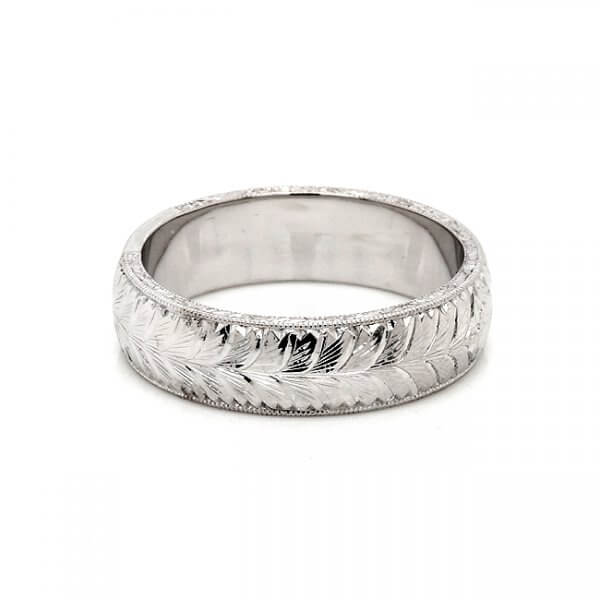 hand etched antique guy wedding ring
