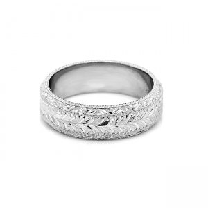 Hand carved 6mm wedding band for man by OroSpot