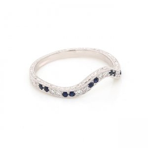 Hand engraved contour wedding ring with sapphires and diamonds