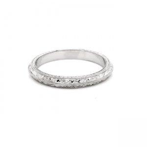 Hand engraved wedding band 2.5mm OroSpot