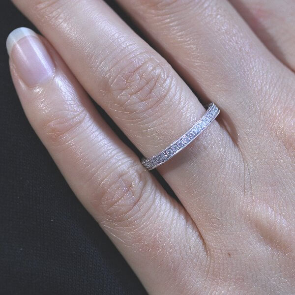 Hand etched and milgrained diamond pave band 2mm