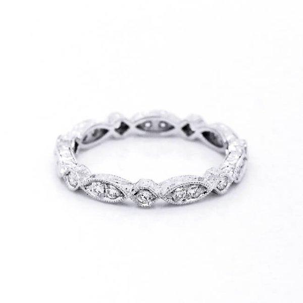 Hexagon Vintage Diamond Eternity Ring