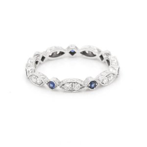 Hexagon Vintage Diamond and Sapphire Eternity band