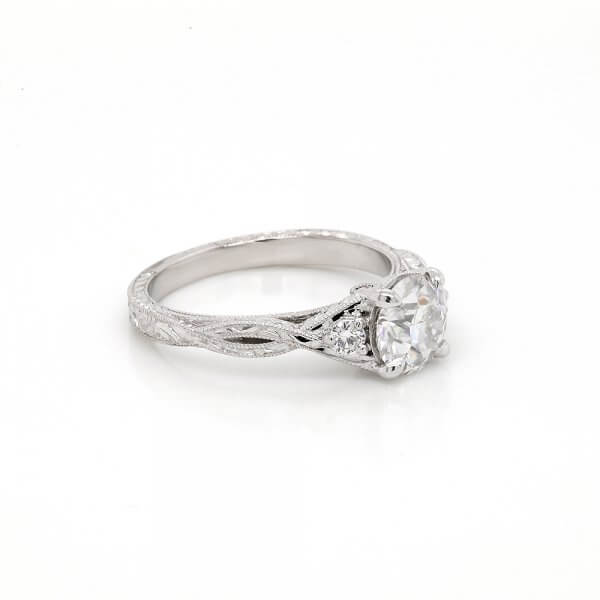 Intertwined Etched Milgrained Engagement Ring OroSpot