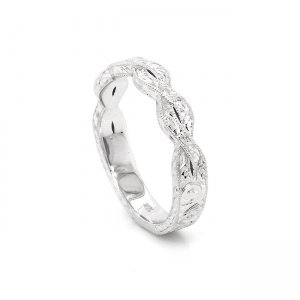 Intertwined hand carved 3.5mm wedding ring
