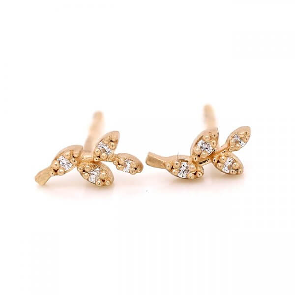 Leaf Diamond Studs Earrings
