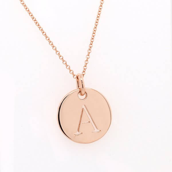 Letter Charm Gold Disc Pendant Whole Alphabet