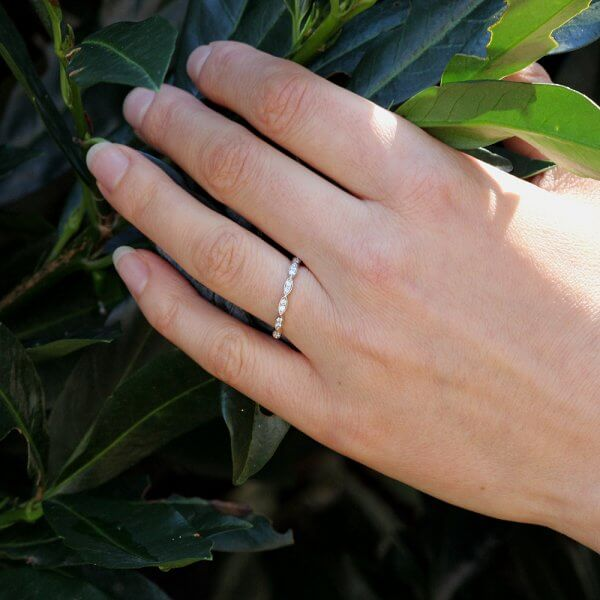 Marquize shape skinny diamond band OroSpot