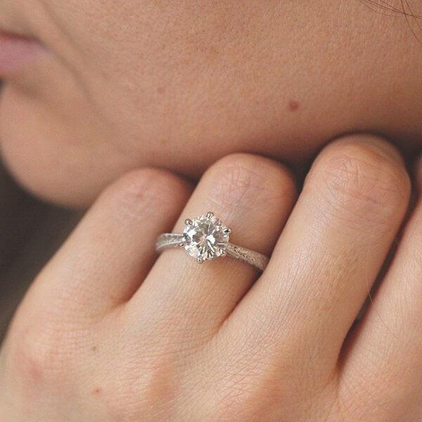 milgrained round moissanite ring vintage inspired