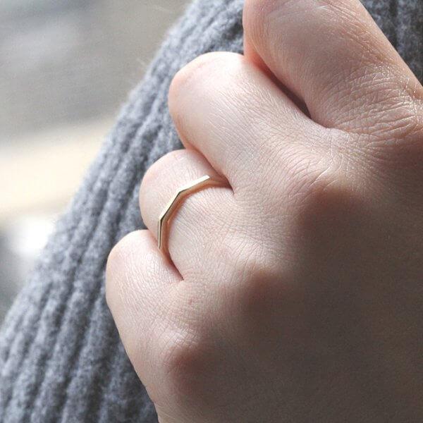 Minimalist decagon gold thiin band gold