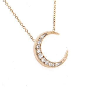 Modern Graduated Diamonds Moon Necklace