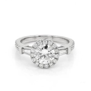 Modern Halo Diamond and Moissanite Engagement Ring