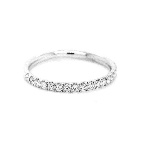 Classic 2mm diamond wedding ring cut down set by OroSpot