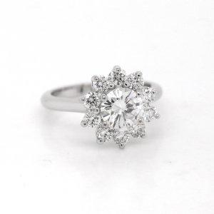 Modern diamond halo moissanite ring