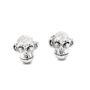 Monkey Chimpanzee Gold Stud Earrings