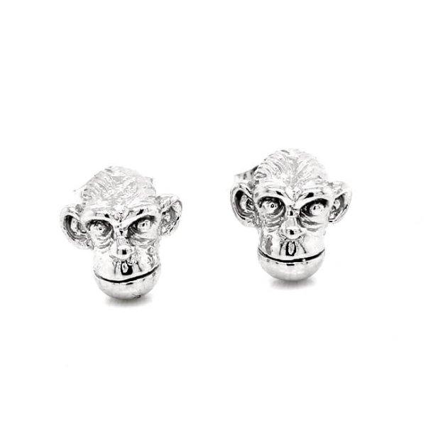 Monkey Chimpanzee Gold Stud Earrings
