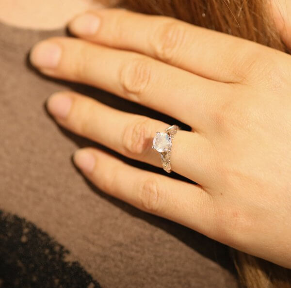 Moonstone leaf non traditional engagement ring OroSpot