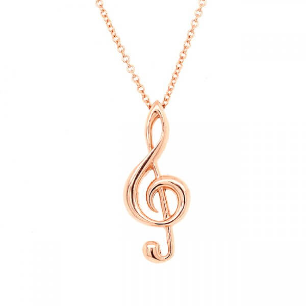 Music note pendant necklace in solid gold by OroSpot