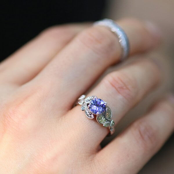 Nature inspired Tanzanite engagement ring OroSpot