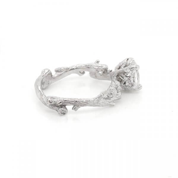 Nature inspired engagement ring with Moissanite and diamonds