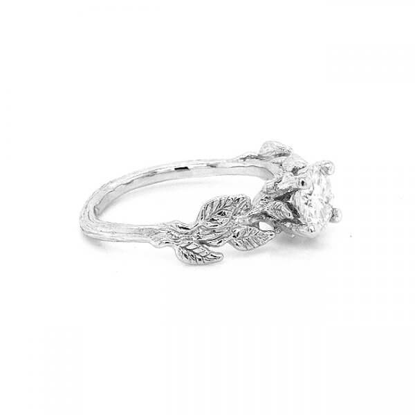 Nature leaves Moissanite engagement ring by OroSpot