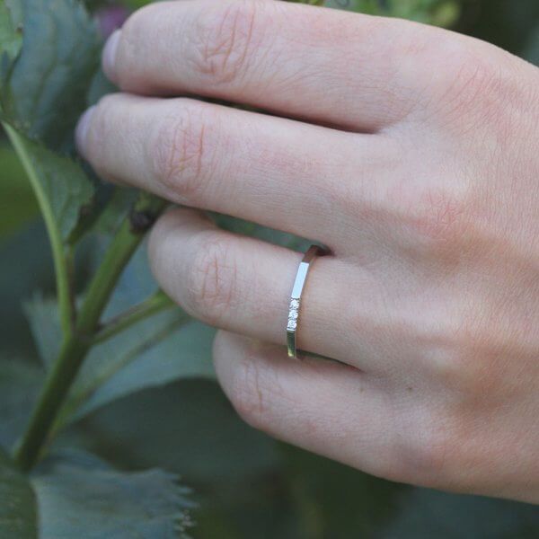 Octagon contemporary thin diamond ring