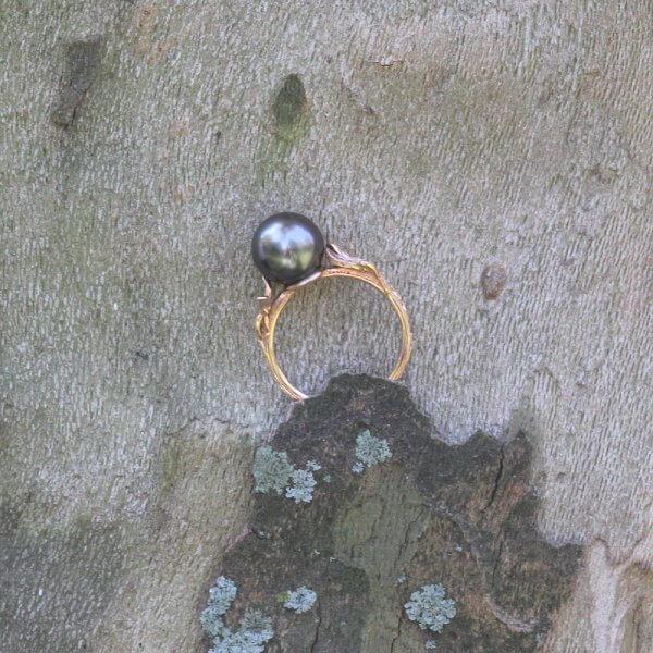Organic Leaf Pearl Ring