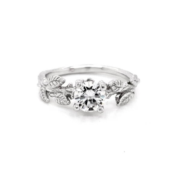 Organic Moissanite Engagement Ring by OroSpot