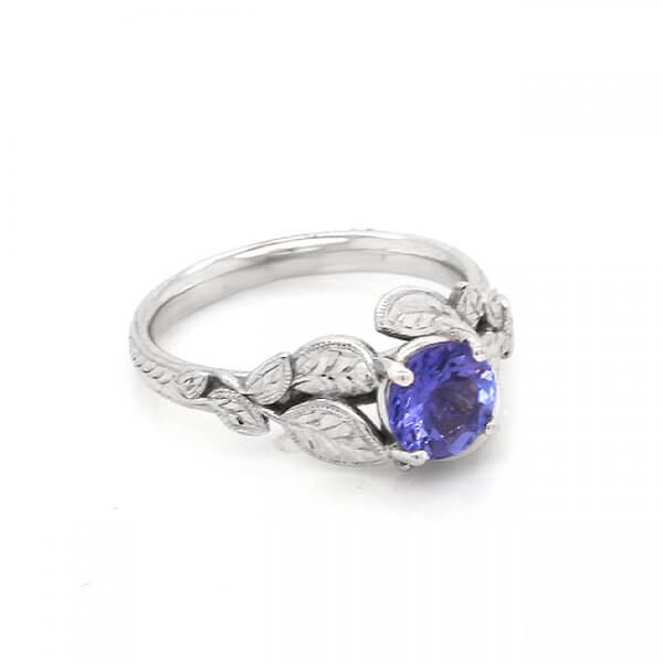 Organic leaves Tanzanite promise ring OroSpot